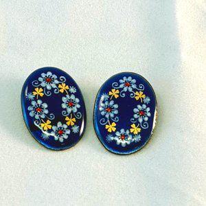 Eva Scherer Wein Austrian Enamel Clip Earrings